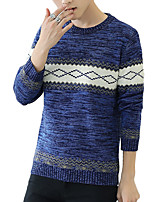 Men's Striped Casual / Work PulloverCotton / Acrylic / Spandex Long Sleeve Blue / Brown / Red / Gray