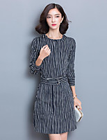 Women's Going out / Plus Size Sophisticated Sheath Dress,Striped Round Neck Above Knee Long Sleeve Black Silk Fall Mid Rise Micro-elastic