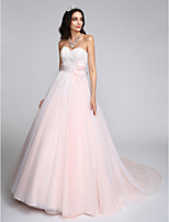 Lanting Bride A-line Wedding Dress Chapel Train Sweetheart Tulle with Appliques / Bow
