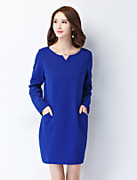 Women's Plus Size/Casual/Simple Shift Dress,Solid Round Neck Above Knee Long Sleeve Blue/Black Rayon/Polyester Fall