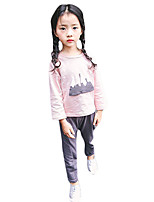 Girl's Casual/Daily Print Clothing Set,Cotton Winter / Fall Pink