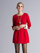 Boutique S Women's Going out Cute A Dress,Solid Round Neck Above Knee Long Sleeve Blue / Red Others Spring