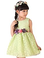 Menina de Vestido,Casual Floral Raiom Verão Verde / Vermelho / Branco