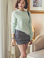 Women's Casual/Daily Simple Regular Pullover,Solid Green Round Neck Long Sleeve Rabbit Fur Spring / Fall Medium