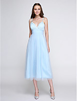 Lanting Bride® Tea-length Lace / Tulle Bridesmaid Dress - Elegant A-line Spaghetti Straps with Lace