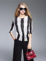 BOMOVO® Women's Round Neck 3/4 Length Sleeve T Shirt Black / Burgundy / Khaki-B16QA34