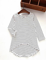 Girl's Casual/Daily Striped Dress,Cotton Spring / Fall White