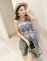 GLITTER  Women's Casual/Daily Street chic Summer Set Skirt,Print Round Neck Sleeveless Green Polyester Thin