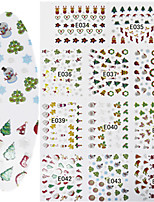 11 Designs Nail Art 3D Emulational Christmas Stickers Colorful Christmas Image Nail Decoration E034-044