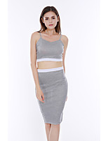 Women's Going out / Casual/Daily Simple / Street chic Tanks Top Backless Set SkirtSolid Strap Sleeveless