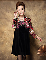 Women's Going out / Plus Size Simple Loose Dress,Floral Square Neck Above Knee Long Sleeve Red / Yellow Polyester Summer / Fall High Rise