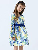 Girl's Cotton Spring/Autumn Bowknot Decoration Flower Dress Long Sleeve Princess Dress