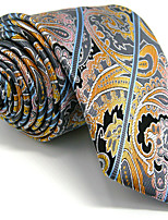 Men's Yellow Paisley Necktie Tie 100% Silk Business Dress Casual Long