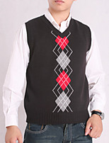 Men's Plaid Casual Vest,Cotton Sleeveless Black / Blue / White