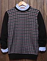 Men's Plaid Casual Pullover,Cotton Long Sleeve Black / Blue / Gray