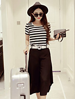 Boutique S Women's Going out Cute Spring / Winter Set Pant,Striped Round Neck Short Sleeve Black Cotton Opaque/Set