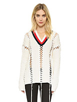 Women's Casual/Daily Street chic Long Pullover,Solid White V Neck Long Sleeve Cotton Spring / Fall Medium