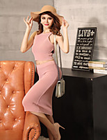 Boutique S Women's Going out Vintage Spring Set Skirt,Solid Strap Sleeveless Pink Others Opaque