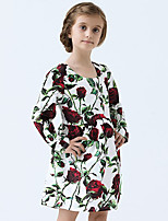 Girl's Cotton Spring/Autumn Print Flower Dress Long Sleeve Princess Dress