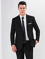 Suits Standard Fit Notch Single Breasted Two-buttons Viscose Solid 2 Pieces  Slanted Flapped