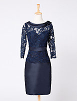 Sheath / Column Mother of the Bride Dress Knee-length Lace / Satin with Lace / Sash / Ribbon