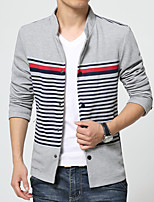 Men's Long Sleeve Casual / Work / Formal / Sport JacketPolyester Striped / Patchwork Black / Blue / Gray