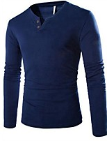 Men's Solid Casual T-Shirt,Cotton Long Sleeve-Black / Blue / Gray