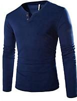 Masculino Camiseta Algodão Cor Solida Manga Comprida Casual-Preto / Azul / Cinza