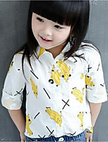 Girl's Casual/Daily Floral Tee,Cotton Spring / Fall White