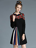 Winter Women Plus Size Vintage Fashion Embroidered Flower Coloful Pleat Color Block Elegance Party/Daily Dress