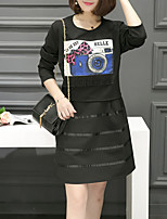 Women's Casual/Daily / Plus Size Street chic Loose Dress,Print Round Neck Above Knee Long Sleeve Black Cotton Fall Mid Rise Micro-elastic