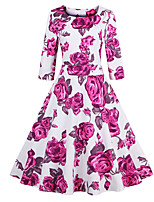 Women's Plus Size Vintage Sheath Dress,Floral Round Neck  ½ Length Sleeve Blue / Pink Cotton / Polyester Summer
