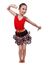 Children's Performance Milk Fiber Ruffles 2 Pieces Sleeveless Natural Top / Skirt Kid's Latin Dance Dress