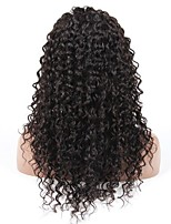 10-28 Inch Deep Wave Wigs 100% Human Hair Lace Front Wigs Natural Black Color 130% Density
