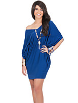Women's Plus Size Going out Sexy Sheath Dress,Solid V Neck Mini ½ Length Sleeve
