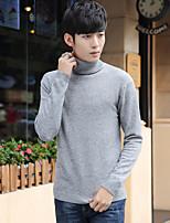 Мужской Однотонный Пуловер На каждый день,Шерсть,Длинный рукав,Черный / Синий / Серый / Бежевый