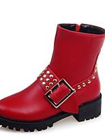 Черный / Красный / Серый-Женский-Для прогулок / На каждый день / Для занятий спортом-Дерматин-На толстом каблуке-Модная обувь-Ботинки