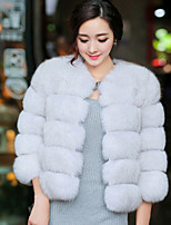 Women's Going out / Formal / Party/Cocktail Street chic Fur Coat,Solid Round Neck ¾ Sleeve Faux Fur