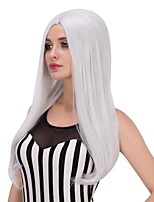 Fashion Women Straight Cosplay Heat Resistant Wedding Party Grey Color Synthetic Wig