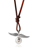 Necklace Pendant Necklaces Jewelry Daily / Casual Fashionable Alloy / Leather Silver / Brown 1pc Gift
