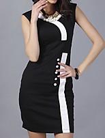 En couleur Femme Col en V Sans Manches Midi Robes-1222
