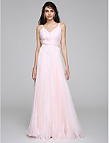 Sheath / Column Wedding Dress Floor-length Straps Organza with Side-Draped