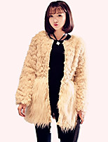 Women's Plus Size /Party/Cocktail Simple Fur Coat,Solid / Color Block Round Neck Long Sleeve Fall / Winter Beige Acrylic
