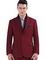 Suits Standard Fit Notch Single Breasted Two-buttons Polyester Solid 2 Pieces Burgundy Slanted Flapped