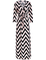 Women's Plus Size / Going out / Casual/Daily Sexy Sheath Dress,Striped V Neck Maxi Long Sleeve All Seasons High Rise
