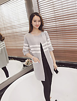 Women's Going out Cute LongSolid Black / Gray Round Neck Long Sleeve Cotton / Acrylic / Polyester Spring / Fall Thick