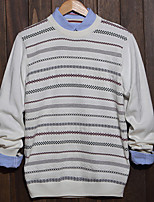 Men's Striped Casual Pullover,Cotton Long Sleeve Black / White / Gray