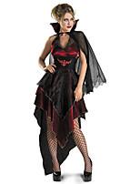 Costumes Sorcier / Ange et Diable / Vampire Halloween / Noël / Carnaval Rouge / Noir Vintage Térylène Robe