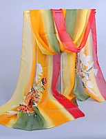 Women's Chiffon Flowers Print Scarf,Yellow/Blue/Red/Pink