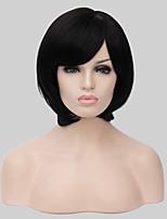 peluca sintética estilo corto negro pelo cardado